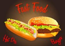 Snel voedsel Vectorillustratie Stock Foto