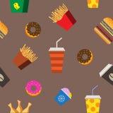 Snel voedsel vlak naadloos patroon Royalty-vrije Stock Afbeeldingen