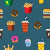 Snel voedsel vlak naadloos patroon Stock Fotografie