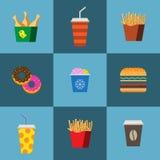 Snel voedsel vlakke reeks Royalty-vrije Stock Afbeelding
