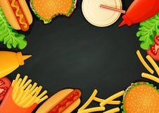 Snel voedselaffiche, banner, menumalplaatje Burgers, hotdogs, ketchup, mosterd, gebraden gerechten, drank, sla en tomaat stock illustratie