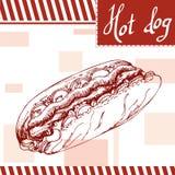 Snel voedselaffiche met hotdog De hand trekt retro illustratie Uitstekend hamburgerontwerp malplaatje Stock Foto's