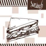 Snel voedselaffiche met Sandwich De hand trekt retro illustratie Royalty-vrije Stock Afbeeldingen