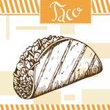 Snel voedselaffiche met taco De hand trekt retro illustratie Royalty-vrije Stock Afbeeldingen