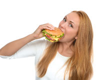 Snel voedselconcept Smakelijke ongezonde hamburgersandwich i Stock Fotografie