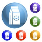 Snel voedsellunchbox pictogrammen geplaatst vector vector illustratie