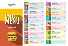 Snel voedselmenu Reeks voedsel en drankenpictogrammen Stock Foto's