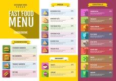 Snel voedselmenu Reeks voedsel en drankenpictogrammen Stock Afbeeldingen
