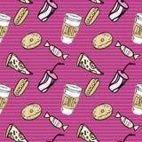 Snel voedselpatroon op gestreepte purpere backgrounde Royalty-vrije Stock Fotografie