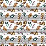 Snel voedselpatroon op gestreepte witte backgrounde Royalty-vrije Stock Afbeeldingen