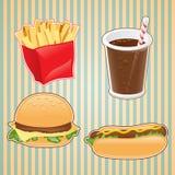 Snel voedselpictogram van hamburger, friet en drank Stock Afbeeldingen