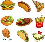 Snel voedselpictogrammen Stock Foto