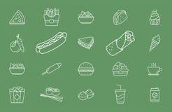 Snel Voedselpictogrammen - Vastgesteld Web en Mobile 01 stock illustratie