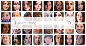 Snelheid het Dateren De tekst wordt getoond in het zoekvak op bac royalty-vrije stock foto