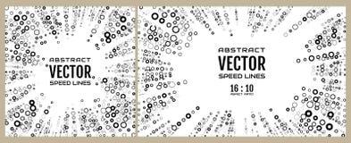 Snelheidslijn van stralen van zwarte ringen van verschillende diameter op witte achtergrond Element van ontwerp Vector stock illustratie