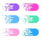 Snelheidslijnen geplaatst die op wit worden geïsoleerd Motieeffect illustratie Stock Foto