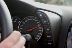 Snelheidsmeter bij 210 km/h Royalty-vrije Stock Fotografie