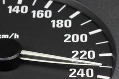 Snelheidsmeter bij 230 km/h Stock Foto's