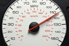 Snelheidsmeter bij 115 MPU stock afbeelding