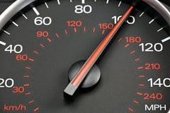 Snelheidsmeter bij 100 MPU Stock Afbeelding