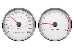 Snelheidsmeter en tachometer Witte die maat met metaalkader wordt geplaatst royalty-vrije illustratie