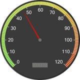 Snelheidsmeter of tachometer met pijl Kleurrijke vectorillustratie stock illustratie