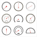Snelheidsmeterpictogrammen stock illustratie