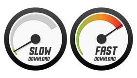 Snelheidsmeters met langzame en snelle download Stock Afbeeldingen