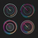 Snelheidsmeters voor dashboard Het meten van apparaat van de snelheids het analoge indicator Reeks van geïsoleerde futuristische  vector illustratie
