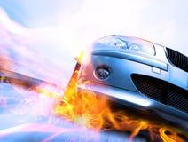 Snelle auto die zich met motieonduidelijk beeld beweegt Royalty-vrije Stock Afbeelding