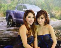 Snelle Autoshow2014 BANGKOK, THAILAND 4,2014 Juli Niet geïdentificeerd die model bij Cabine Ford Motors, Bitec-Overeenkomst Hall  Royalty-vrije Stock Foto