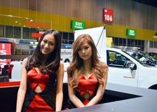 Snelle Autoshow2014 BANGKOK, THAILAND 4,2014 Juli Niet geïdentificeerd die model bij Cabine Mazda, Bitec-Overeenkomst Hall Bangna Royalty-vrije Stock Foto