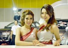 Snelle Autoshow2014 BANGKOK, THAILAND 4,2014 Juli Niet geïdentificeerd die model van Mitsubishi, Bitec-Overeenkomst Hall Bangna w Royalty-vrije Stock Foto's