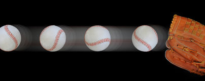 Snelle baseballs en handschoen Stock Afbeeldingen