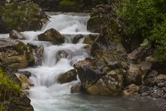 Snelle bergrivier bij de zomer stock afbeelding