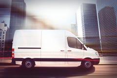 Snelle bestelwagen op een stadsweg het 3d teruggeven Royalty-vrije Stock Foto's