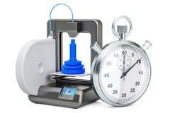 Snelle druk op 3D printerconcept, het 3D teruggeven royalty-vrije illustratie