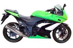 Snelle groene motorfiets Stock Afbeeldingen