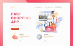 Snelle het Winkelen App Webpaginakopbal royalty-vrije illustratie