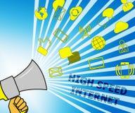 Snelle internetdiensten die Breedband 3d Illustratie vertegenwoordigen royalty-vrije illustratie