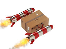 Snelle levering van pakket door turboraket het 3d teruggeven Stock Foto's
