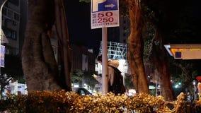 Snelle motie van forenzen en auto's die door weg bij nacht overgaan stock video