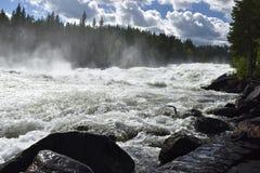 Snelle Storforsen in de rivier Piteälven Stock Foto's