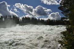 Snelle Storforsen in de rivier Piteälven Royalty-vrije Stock Afbeelding