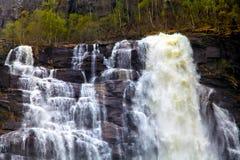 Snelle stroom die van water van een klip valt Stock Afbeelding