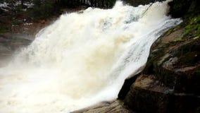 Snelle stroom Het hoogtepunt van de bergrivier van koud bronwater Pantoffel grote stenen en schuimend koel water rond Lawaai van  stock videobeelden