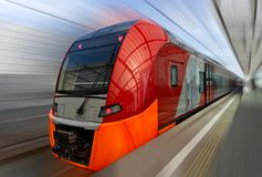 Snelle trein van de Centrale Cirkel van Moskou royalty-vrije stock foto