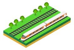 Snelle trein Vector isometrische illustratie van een Snelle Trein Stock Afbeeldingen