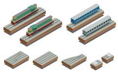 Snelle Treinbus en diesel elektrische locomotief Vector isometrische illustratie van een Snelle Trein Royalty-vrije Stock Fotografie