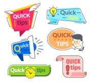 Snelle uiteindeetiketten Uiteinden en trucs de suggestie, helpt snel raad Nuttige de dienst vectorbanners stock illustratie